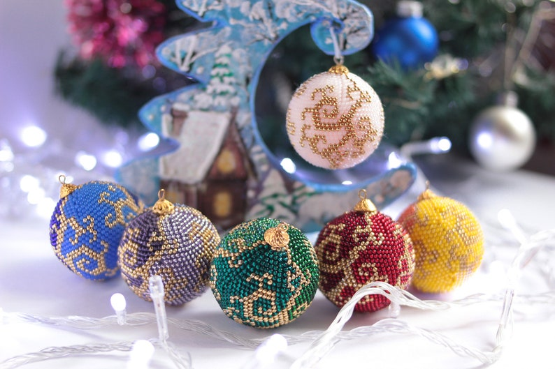 Christmas In July Christmas Ornament Set Beaded Crochet Balls Christmas Gift Tree Toy Set Xmas Ornament New Year Gift