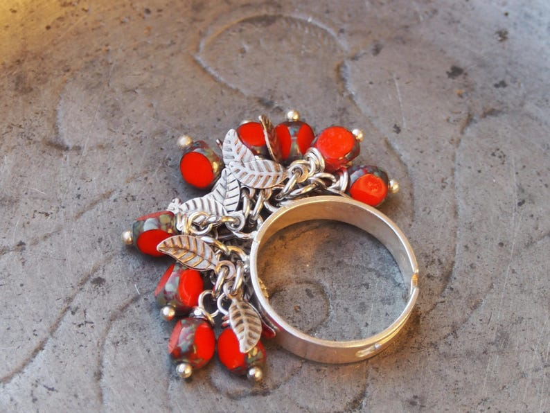 silver ring 925 Silver Ring fire Orange /& small Czech glass beads leaves