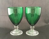 Vintage Water or Wine Goblet - Beaded Foot - Mid Century Modern Drinking Glasses - Anchor Hocking Boopie Green w Clear Base - Set of 2