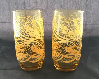 Vintage Water Glasses - Wheat Pattern - Yellow & Orange - Amber Glass - Mid Century Modern Tumblers - Libbey - 1970s Glasses - Set of 2