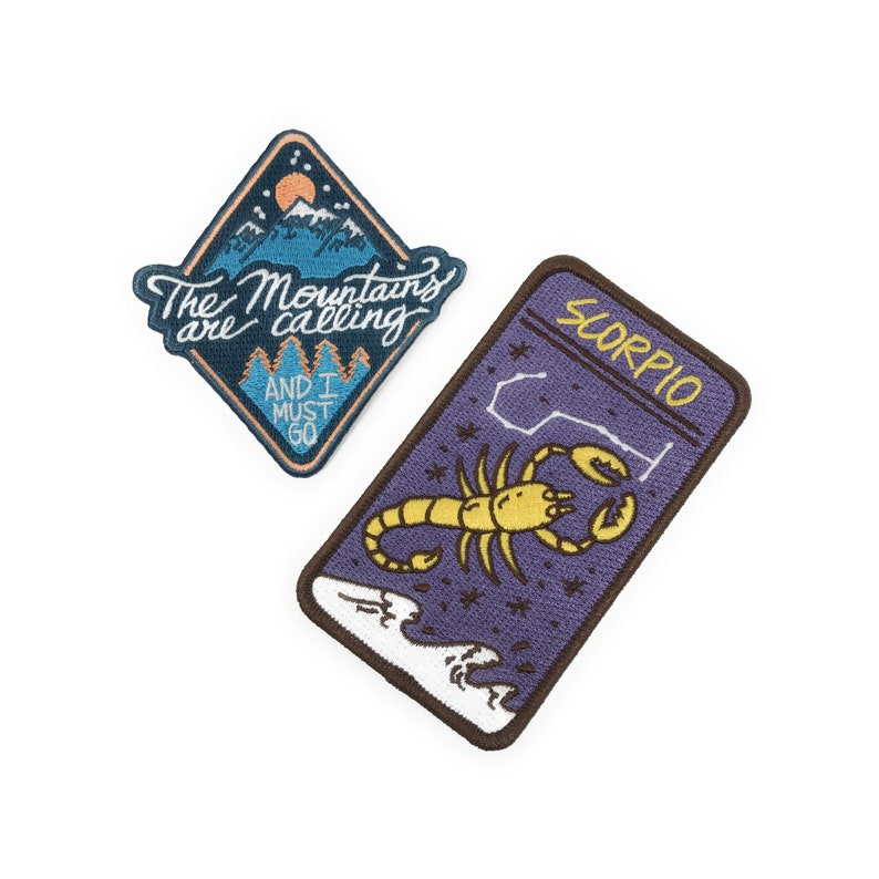 Iron On Patch 2 Pack - Scorpio Zodiac Sign & The Mountains are Calling and  I Must Go Morale Patches - 2 Pack of Premium Embroidered Patches