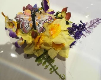 Stunning handmade unique summer daffodil, lavender, pansy and tiny butterfly hair clip