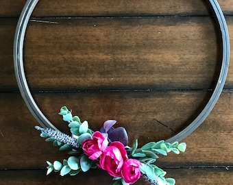 Spring Summer Front Door Wreath Modern Hoop