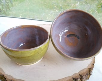 Pair of Olive Green Handmade Ceramic Bowls