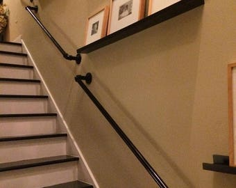 Stair Hand Rail / Bannister With Brackets   Vintage From Industrial Pipe  Fittings