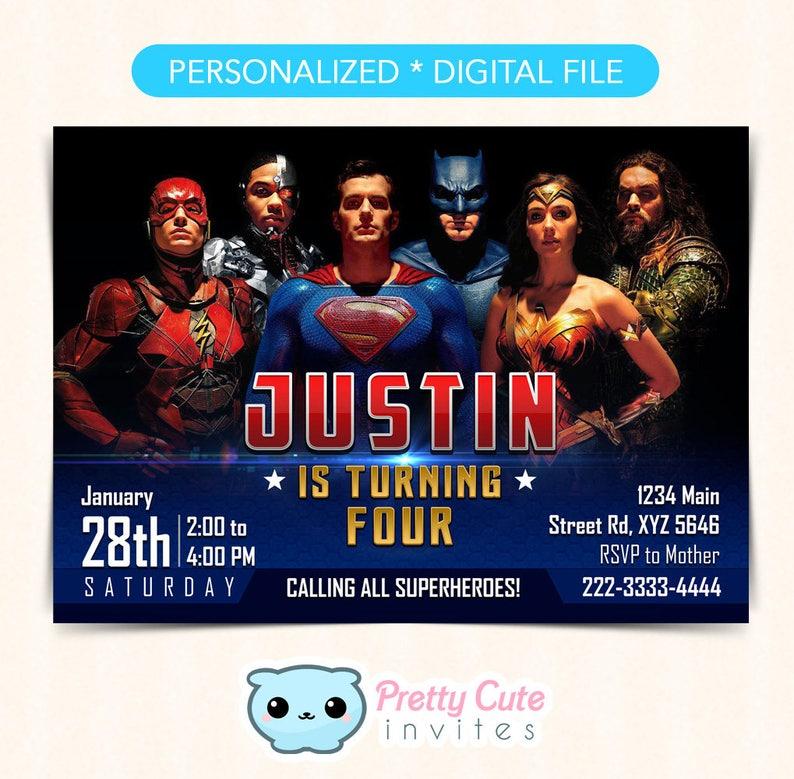 Justice League Invitation Birthday