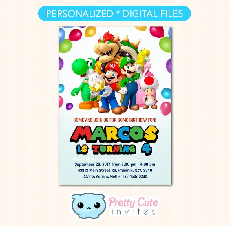 Super Mario Invitation Bros Birthday Invite Party