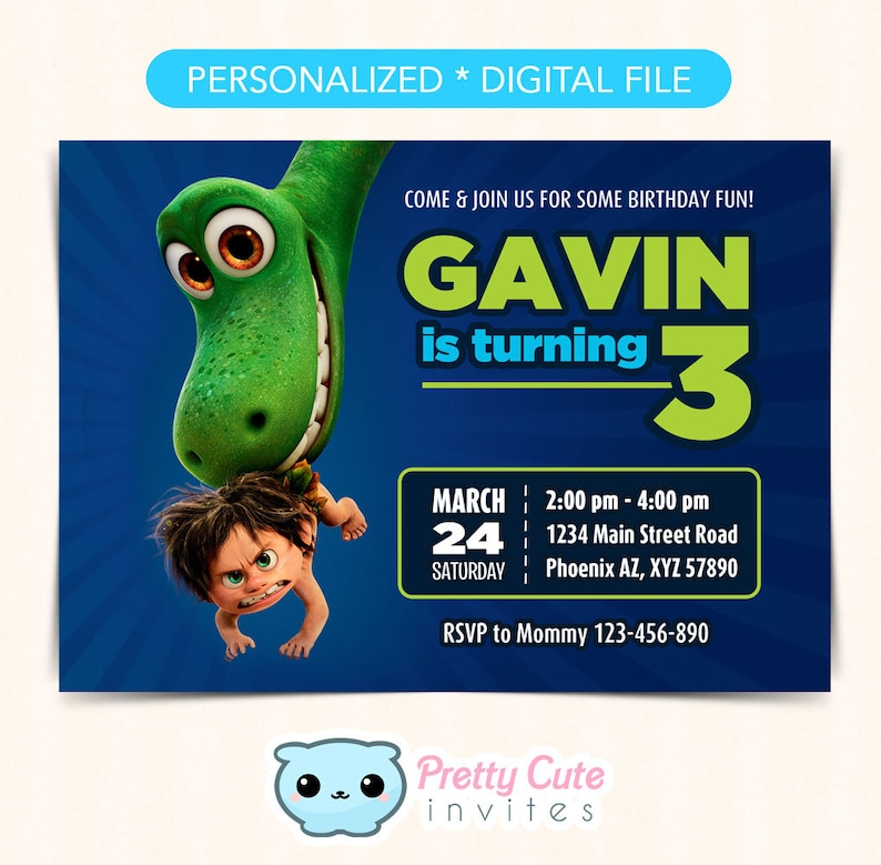 Good Dinosaur Birthday Invitation Invite