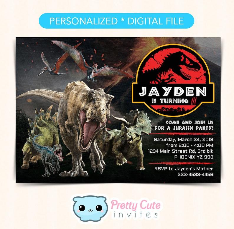 Jurassic Park Invitation Birthday World Dinosaur Invites