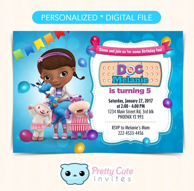 Doc McStuffins Invitation Birthday Invite