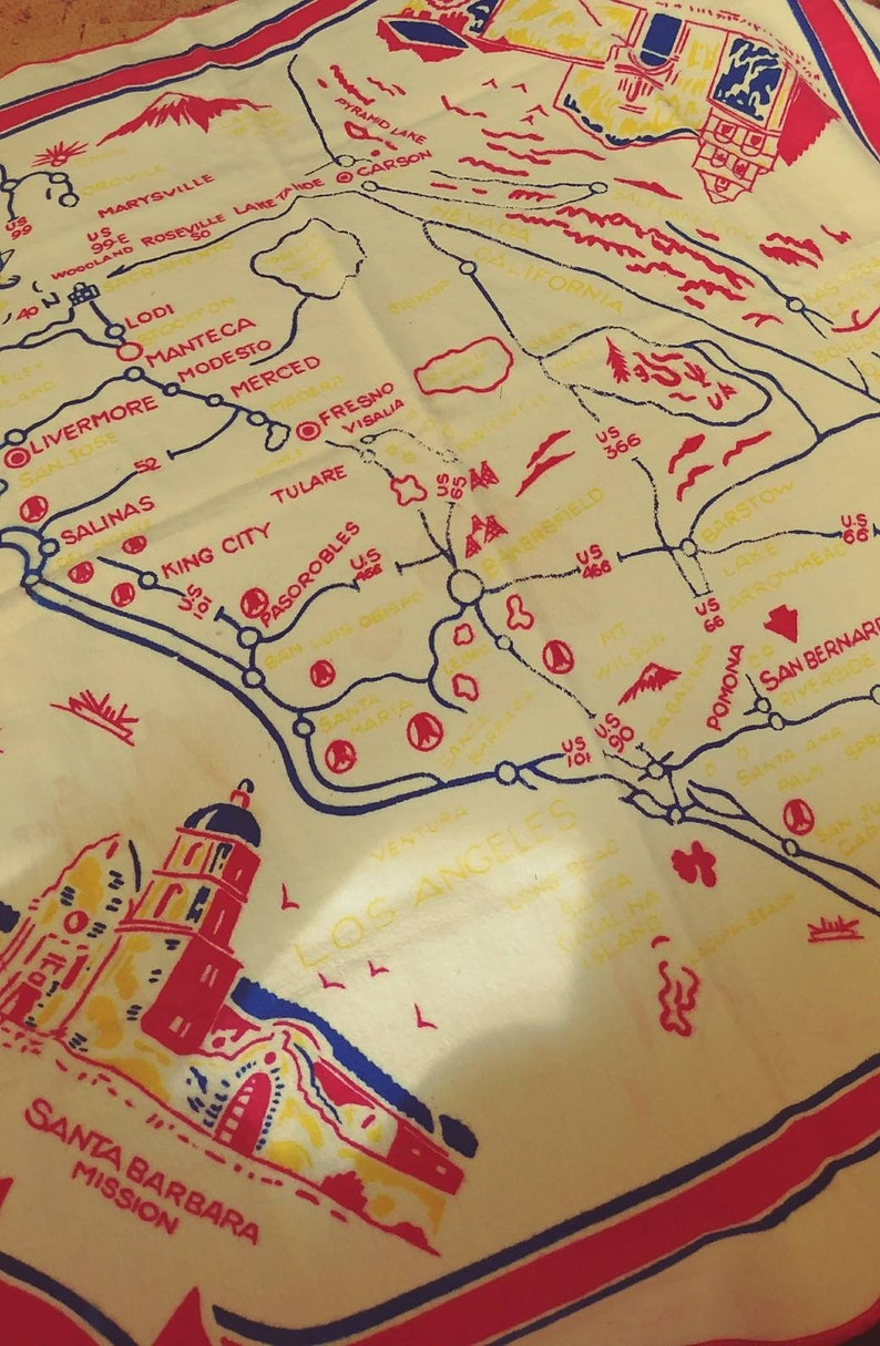 Missions In Southern California Map.Vintage Soft Felt California Map Table Cloth