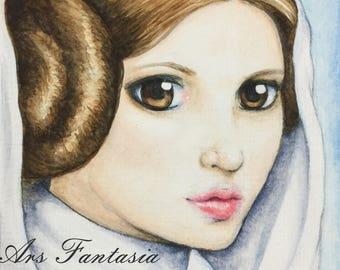 "Princess Leia, ORIGINAL Watercolor FanArt on 6x8"" Paper, Star Wars"