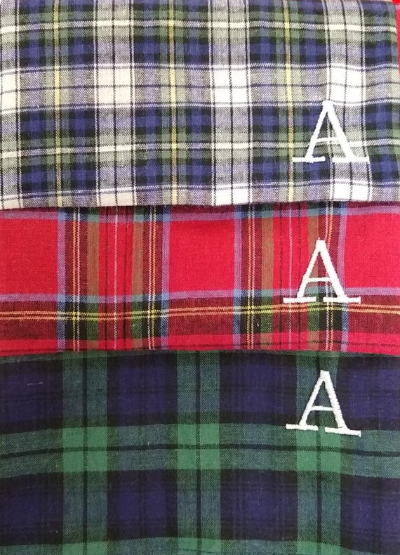 100/% COTTON EMBROIDERED PERSONALISED HANDKERCHIEF TARTAN SCOTTISH ANY NAME SCOT