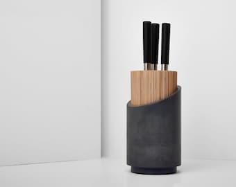 Concrete knife block