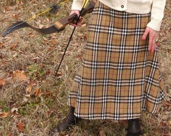 Vintage Plaid Midi Skirt, Burberry Style Cowboy Skirt, Tartan Plaid Skirt
