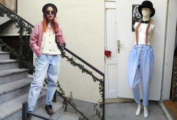 Vintage High Waisted Jeans / Tapered Jeans / Retro