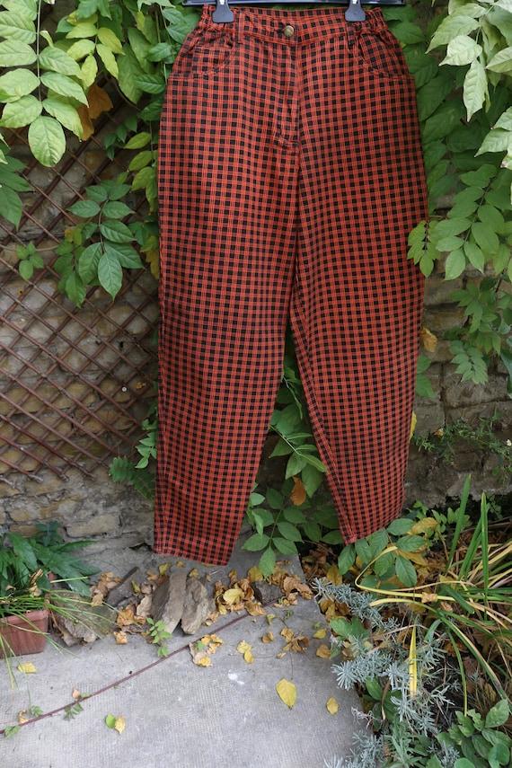 Vintage High Waist  80s Mom Jeans, Plaid Punk Jea… - image 7