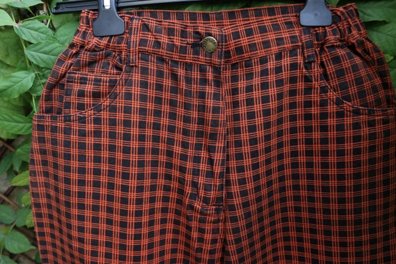 Vintage High Waist  80s Mom Jeans, Plaid Punk Jea… - image 4