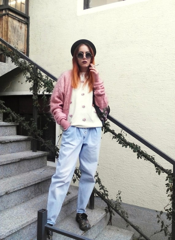 Vintage High Waist Baggy Pleated Jeans, Tapered W… - image 9