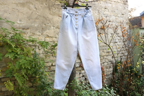 Vintage High Waist Baggy Pleated Jeans, Tapered W… - image 5