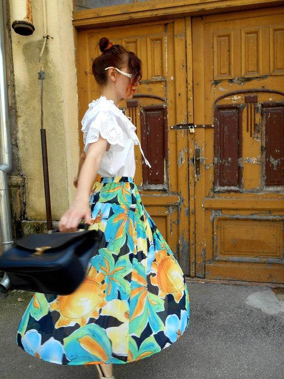 Vintage Circle Skirt, Pleated Midi Skirt, Summer F