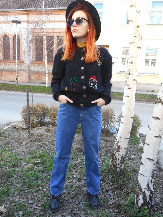 Vintage Mohair Sweater, Embroidery Handknit Cardig