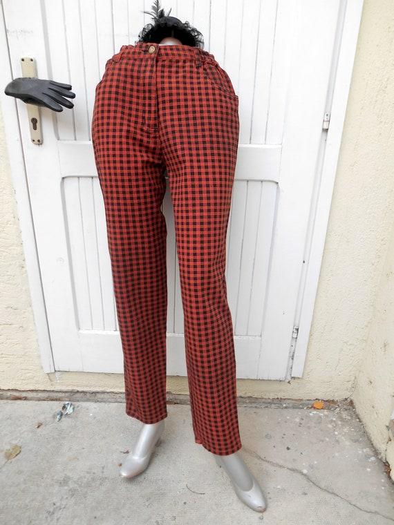 Vintage High Waist  80s Mom Jeans, Plaid Punk Jea… - image 1
