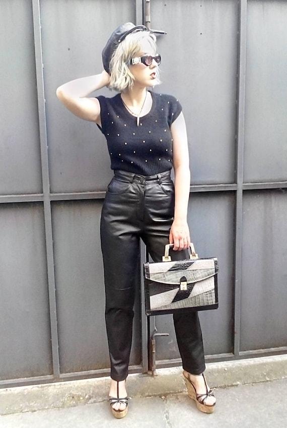 Vintage Black Leather Pants 80s / Genuine Leather