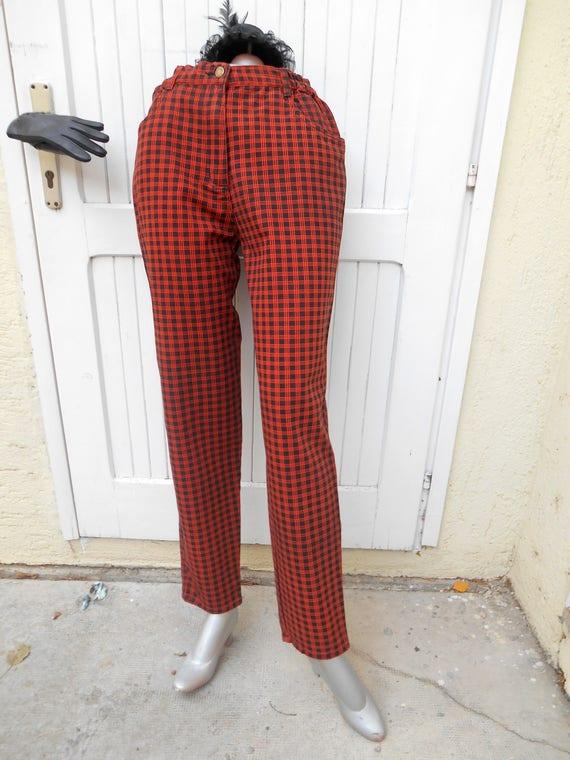Vintage High Waist  80s Jeans, Plaid Punk Jeans, C