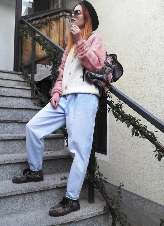 Vintage High Waist Baggy Pleated Jeans, Tapered W… - image 7