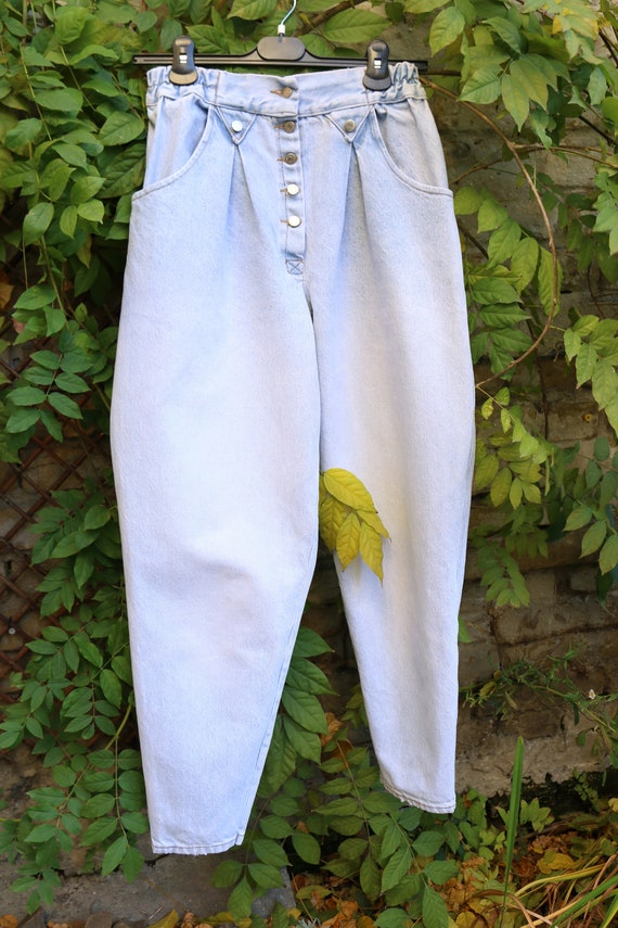 Vintage High Waist Baggy Pleated Jeans, Tapered W… - image 2