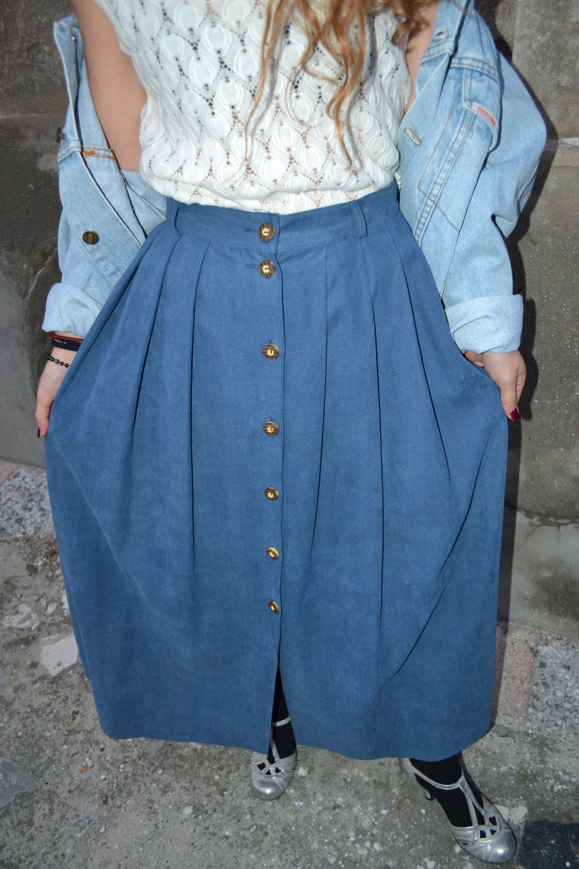 9273842c66fe Vintage Blue Long Skirt / Western Skirt / High Waist Skirt /   Etsy