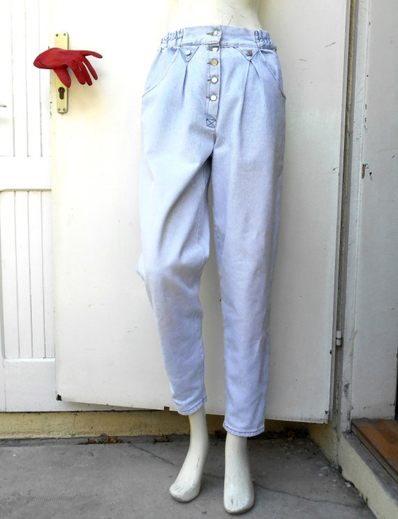 Vintage High Waist Baggy Pleated Jeans, Tapered W… - image 10