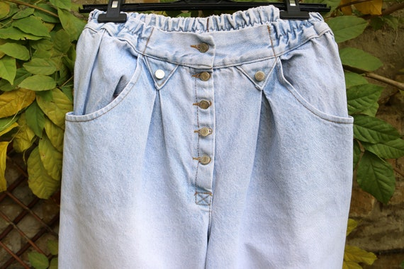 Vintage High Waist Baggy Pleated Jeans, Tapered W… - image 4