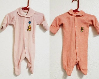 Two 1980s Vintage Pink Baby Girl Newborn Onesie Pajamas with Winnie the Pooh  Bear a826ad7848b2