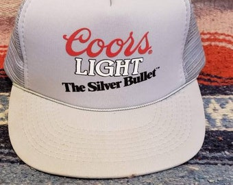 ade73afeaee 1980s Vintage Coors Light the Silver Bullet Snapback Beer Trucker Hat