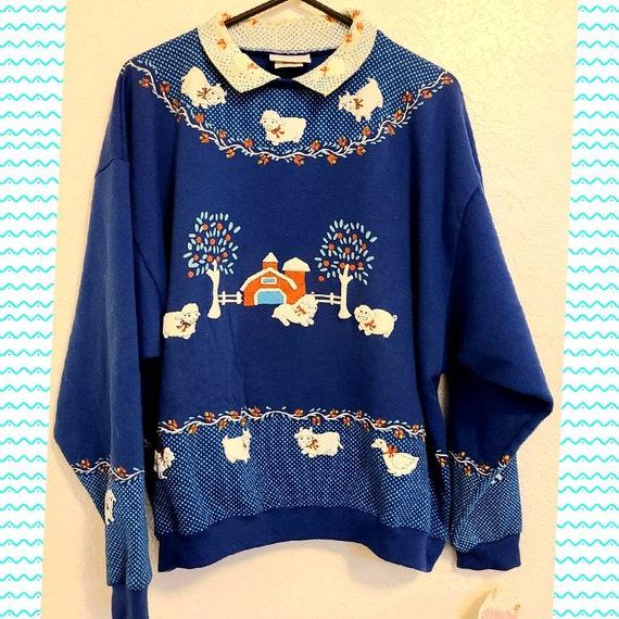 1980s Vintage Farm Kitsch Sweatshirt Large