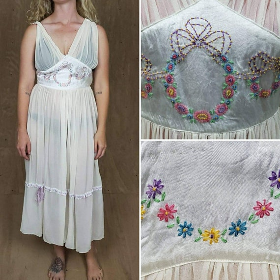 1940s Vintage Sheer Long Nightgowns Boho XS