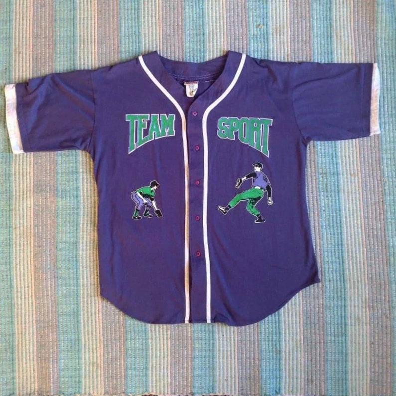 1990s Vintage Team Sport Baseball Jersey Style T Shirt Purple Size Large