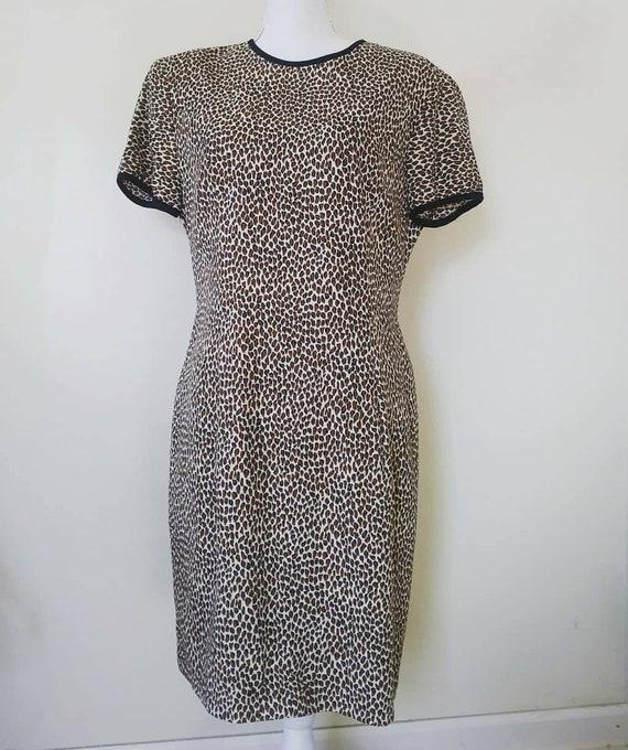 1980s Vintage Pin Up Retro Punk Leopard Print Dres