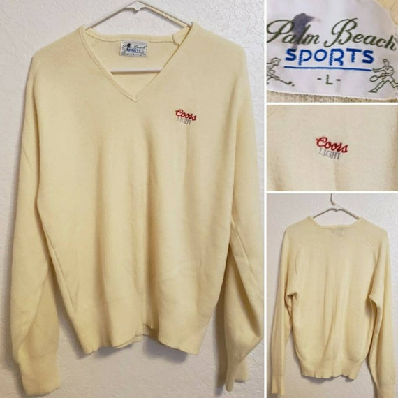 1980s Vintage Off White V Neck Knit Sweater with Coors Light Logo Size Large