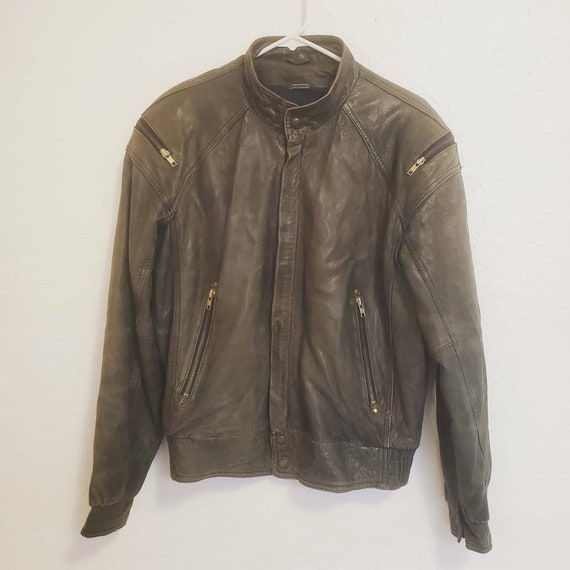 1990s Vintage Leather Bomber Jacket Medium