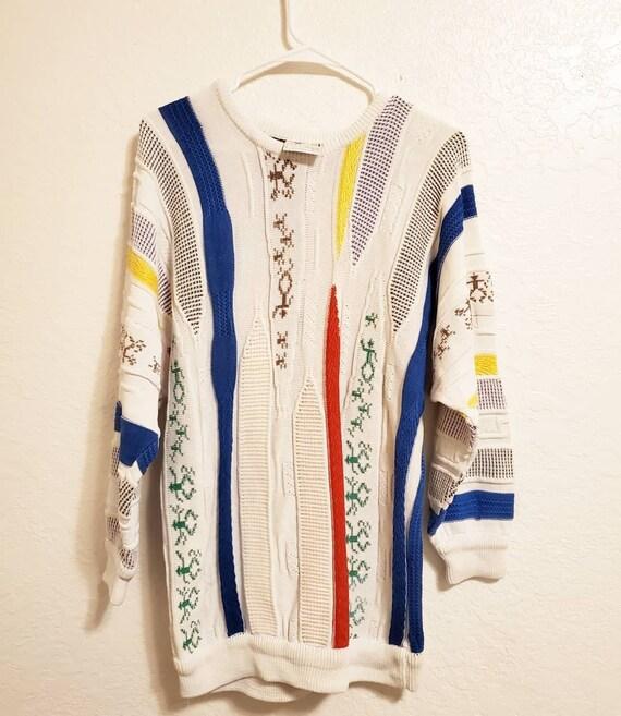 1990s Vintage White Coogi Sweater Size Medium RARE