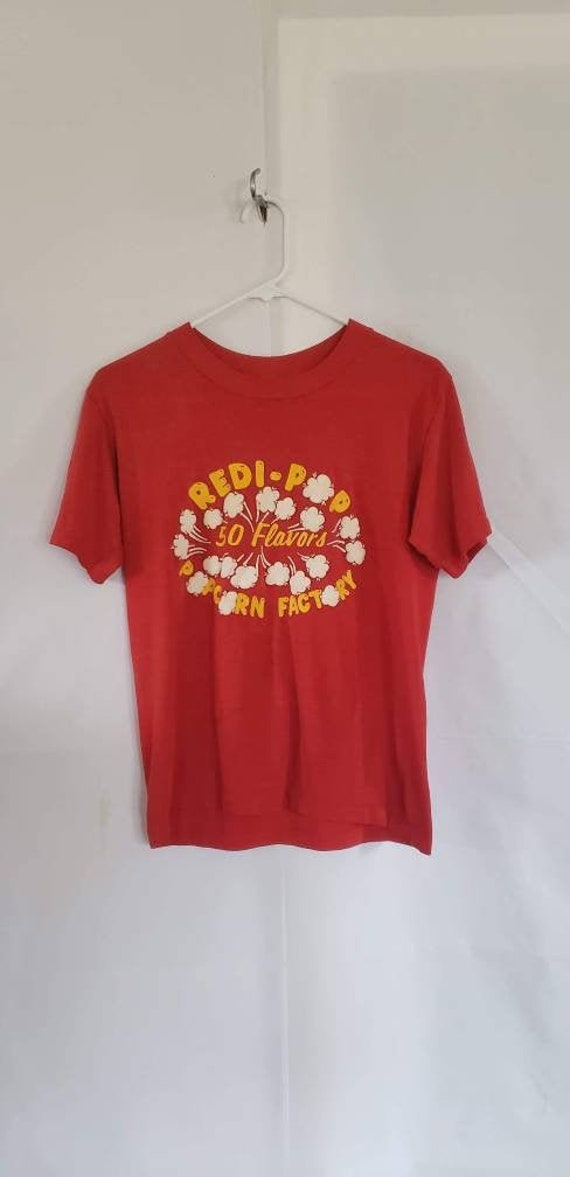 1980s Vintage Single Stitch Red Redi Pop Popcorn T