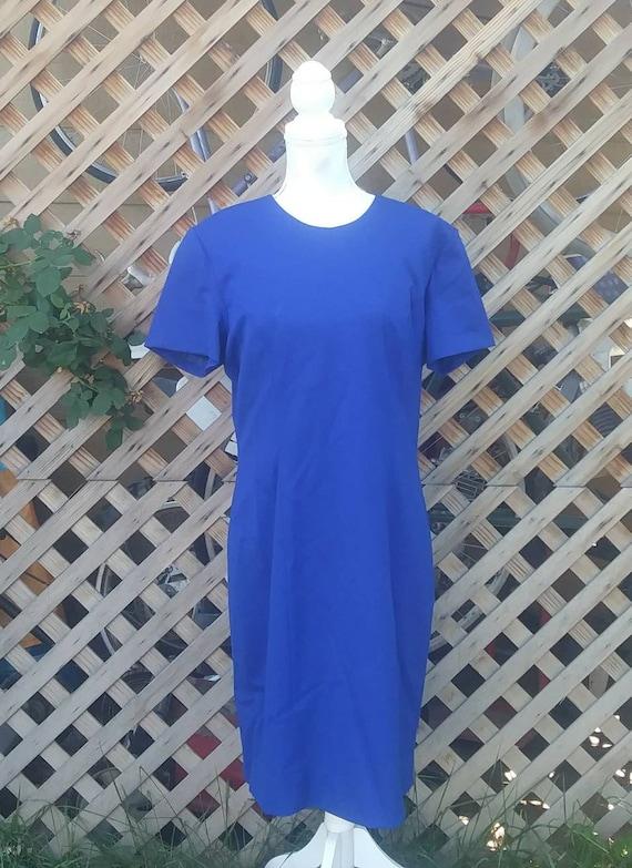 1990s Vintage Long Short Sleeved Blue Woolen Dress