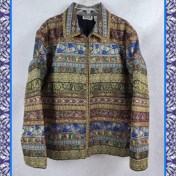 1990s Vintage Boho Hippie Tapestry Coat Womens Med