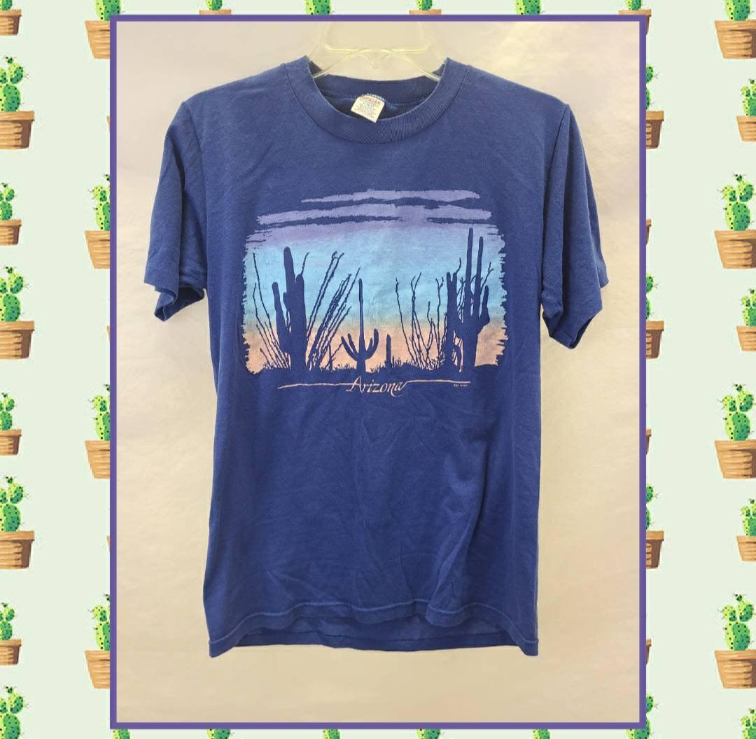 80s Tops, Shirts, T-shirts, Blouse   90s T-shirts 1980S Vintage Single Stitch Arizona Desert Cactus T Shirt Unisex Size Medium $38.00 AT vintagedancer.com