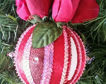 Pink with Red Roses Sequin and Beaded Christmas Ornament