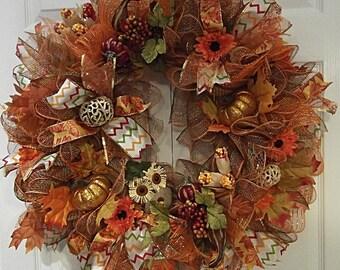 Autumn Wreath, Fall Wreath, Colorful Wreath, Deco Mesh Wreath, Orange Pumpkin Wreath, Owl Wreath, Fall Leaves Wreath