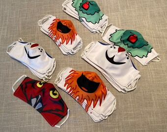 Gritty, Franklin, Phanatic, and Owl Face Masks - Cut Face Coverings Supporting Your Philadelphia Teams - Sixers, Flyers, Phillies, Temple